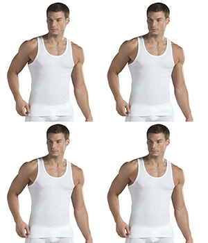 Jockey Mens Vest International Collection IC13 White Pack Of 4