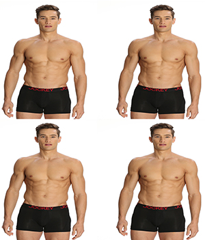 Jockey Zone Stretch Mens Trunk US20 Black Pack Of 4