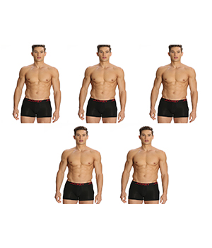 Jockey Zone Stretch Mens Trunk US20 Black Pack Of 5