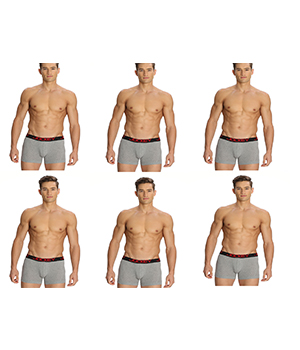 Jockey Zone Stretch Mens Trunk US20 Grey Pack Of 6