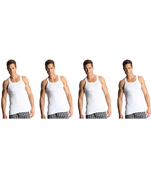 Jockey Zone Mens Vest US26 White Pack Of 4