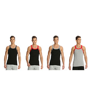 Jockey Zone Mens Vest US27 Assorted Color Pack Of 4