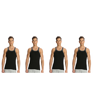 Jockey Zone Mens Vest US27 Black Charcoal Pack Of 4