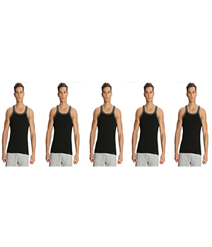 Jockey Zone Mens Vest US27 Black Charcoal Pack Of 5