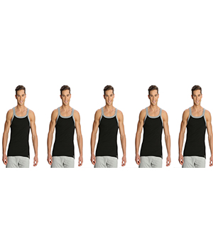 Jockey Zone Mens Vest US27 Black Grey Pack Of 5
