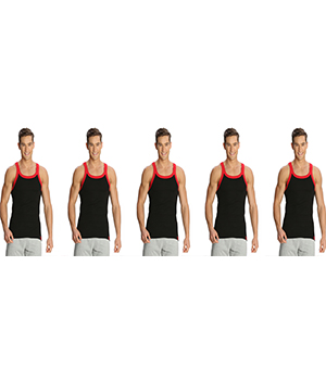 Jockey Zone Mens Vest US27 Black Red Pack Of 5
