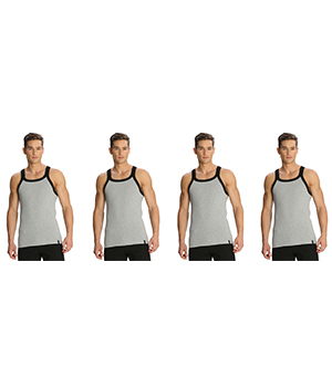 Jockey Zone Mens Vest US27 Grey Black Pack Of 4