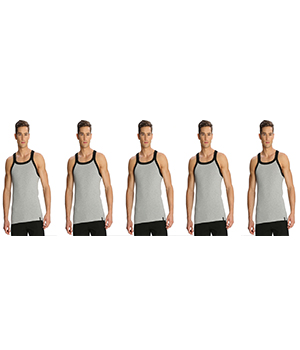 Jockey Zone Mens Vest US27 Grey Black Pack Of 5