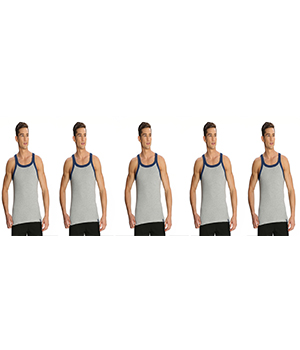 Jockey Zone Mens Vest US27 Grey Navy Pack Of 5