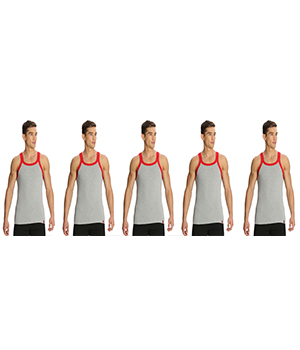 Jockey Zone Mens Vest US27 Grey Red Pack Of 5
