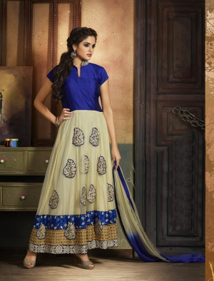 Fabliva Exclusive Latest Heavy Designer Blue And Offwhite Anarkali Suits FAS144-1112