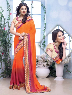 Fabliva Gorgeous New Attractive Orange Designer Saree FDS103-2207
