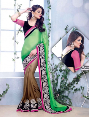 Fabliva Gorgeous New Attractive Parrot And Brown Designer Saree FDS103-2214