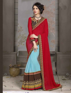 Fabliva Gorgeous New Attractive Maroon And Sky Designer Saree FDS104-2801