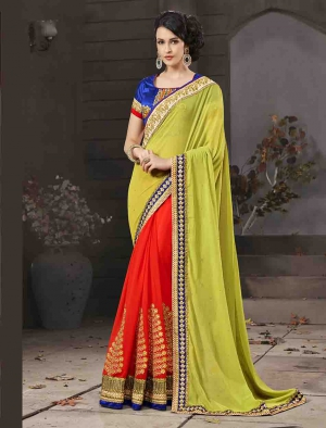 Fabliva Gorgeous New Attractive Parrot And Red Designer Saree FDS104-2811