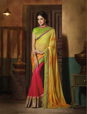Fabliva Gorgeous New Attractive Yellow And Pink Designer Saree FDS105-1022