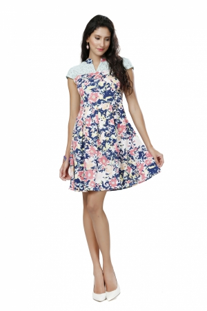 Eavan Blue Printed Skater Dress EA1004