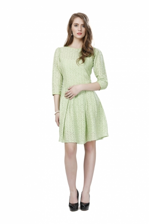 Eavan Green Lace Fit And Flare Dress EA1009