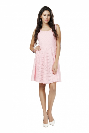 Eavan Pink Lace Fit And Flare Dress EA1012
