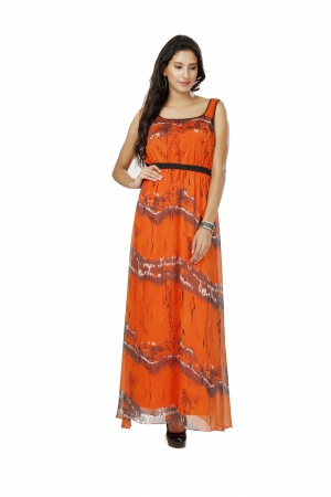 Eavan Orange And Black Printed Maxi Dress EA1048