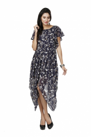 Eavan Navy Blue Printed High-Low Dress EA1049