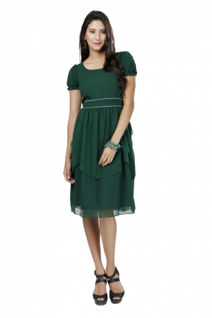 Eavan Olive Green Fit And Flare Dress EA1058