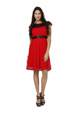 Eavan Red Fit And Flare Dress EA1065