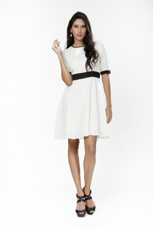 Eavan White Fit And Flare Dress EA1067