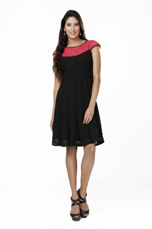 Eavan Black Fit And Flare Dress EA1068