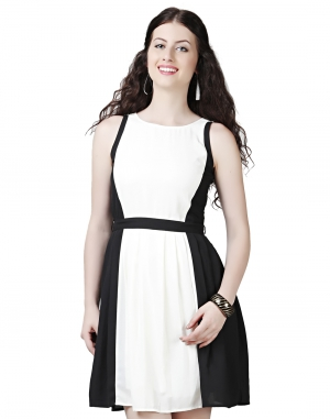 EAVAN Black And White  Skater Dress EA1405