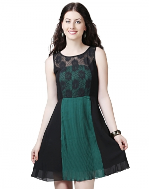 EAVAN Green And Black Pleated Skater Dress EA1410