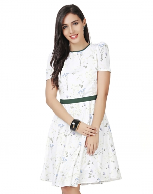 EAVAN White Printed Fit And Flare Dress EA1412