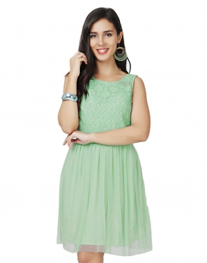EAVAN Sea Green Lace Fit And Flare Dress EA1422