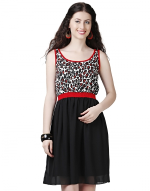 EAVAN Black-Red Printed Fit And Flare Dress EA1430