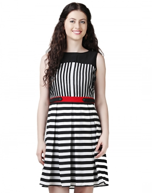 EAVAN Black-White Fit And Flare Dress EA1433