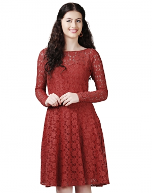 EAVAN Rust Lace Fit And Flare Dress EA1434
