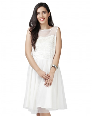 EAVAN White Fit And Flare Dress EA1447