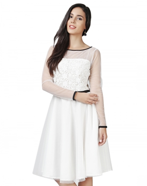 EAVAN White Lace Fit And Flare Dress EA1448