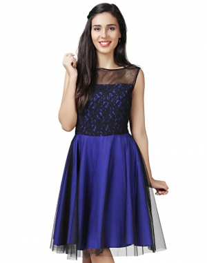 EAVAN Black-Blue Fit And Flare Dress EA1449