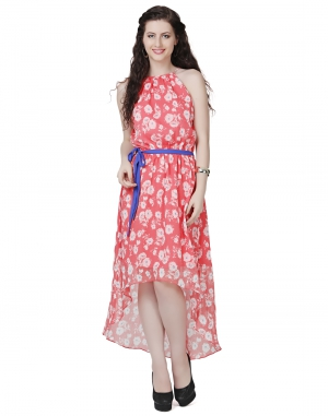 EAVAN Peach High- Low Dress EA1450
