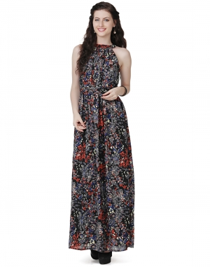 EAVAN Black Printed Maxi Dress EA1454