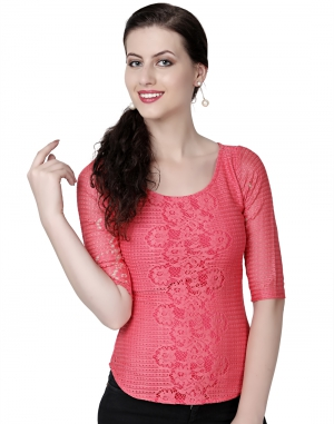 EAVAN Pink Lace Slim fit Top EA1489