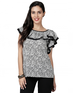 EAVAN Black Printed Frill Top EA1495