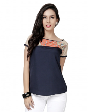 EAVAN Navy Blue-Beige Top EA1497