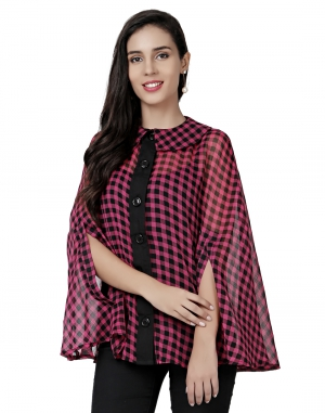 EAVAN Burgandy And Black Printed Cape Top EA1498