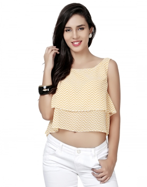 EAVAN Yellow Printed Crop Top EA1507