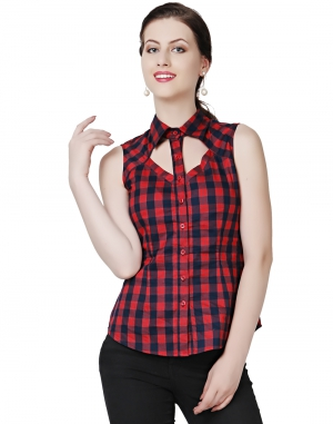 EAVAN Blue And Maroon Check Print Slim fit Top EA1509