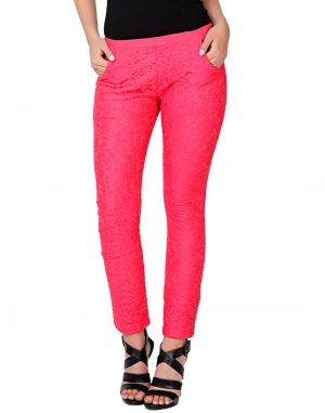 EAVAN Pink Lace Slim fit Jegging EA1528