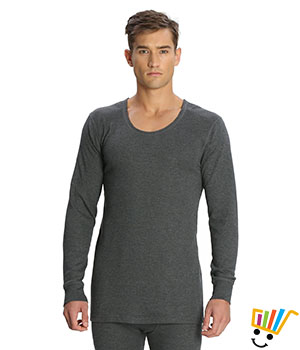 Jockey Mens Thermal Long Sleeved Vest 2401 Charcoal Melange