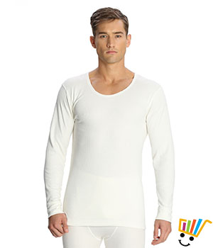 Jockey Mens Thermal Long Sleeved Vest 2401 Off White